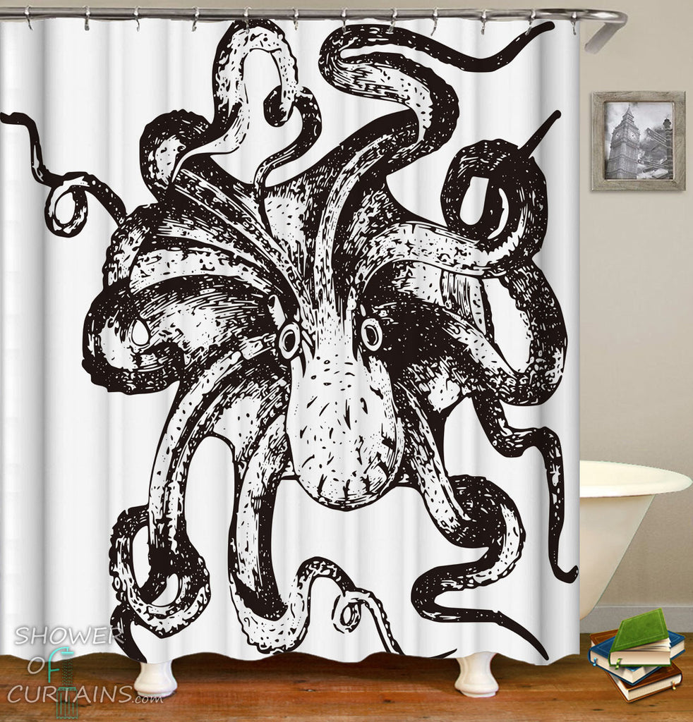Black And White Shower Curtains of Kraken Octopus Drawing