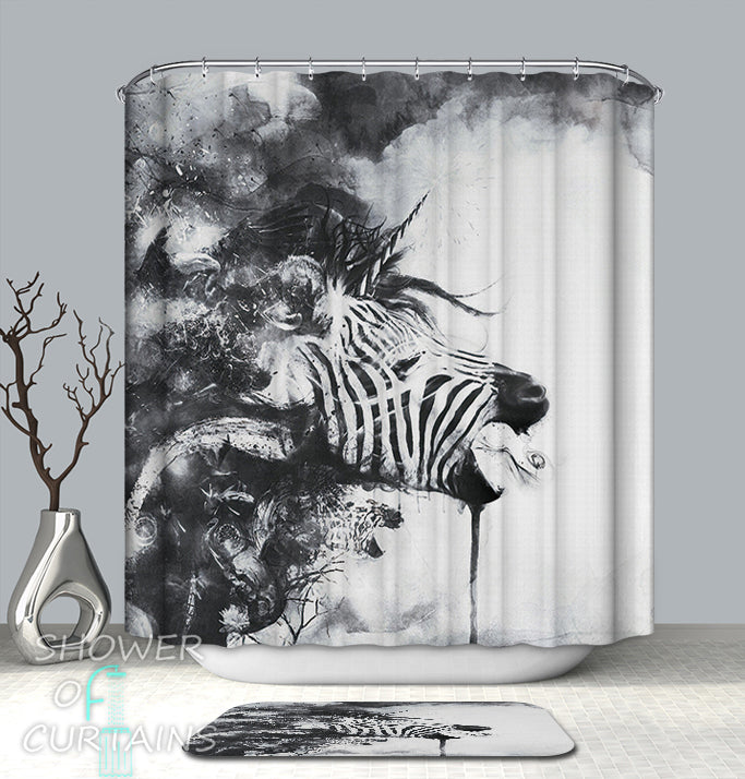 Black & White Artwork Zebra Shower Curtain