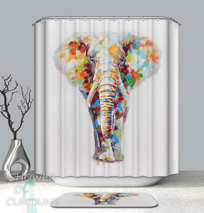 Colorful Shower Curtains -  of Spots Elephant shower curtain