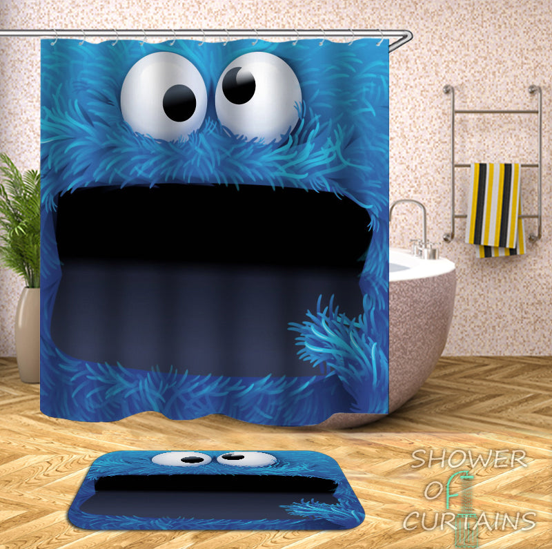 Cookie Monster Shower Curtain - Kids Shower Curtains