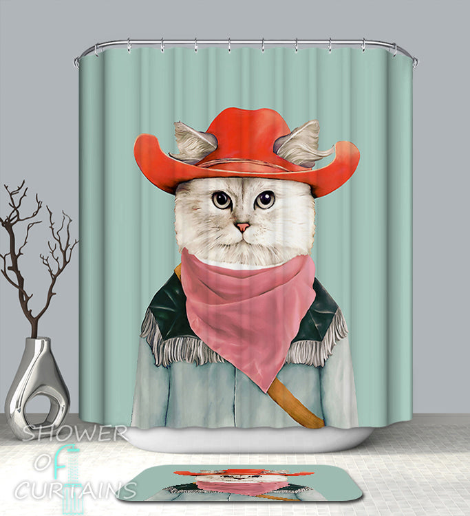 Cowboy Cat Shower Curtain