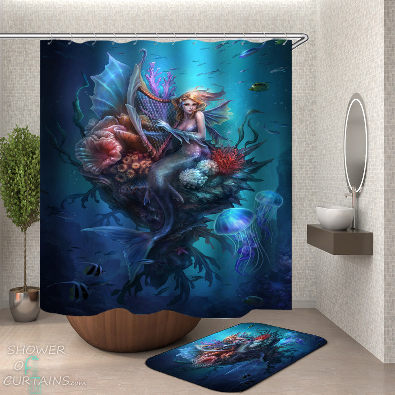 Deep Ocean Mermaid Shower Curtain