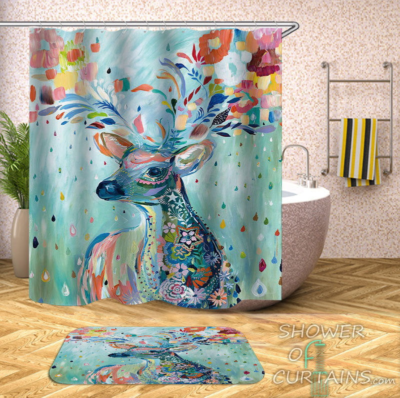 Deer Shower Curtain of Riot Of Colors Deer Painting
