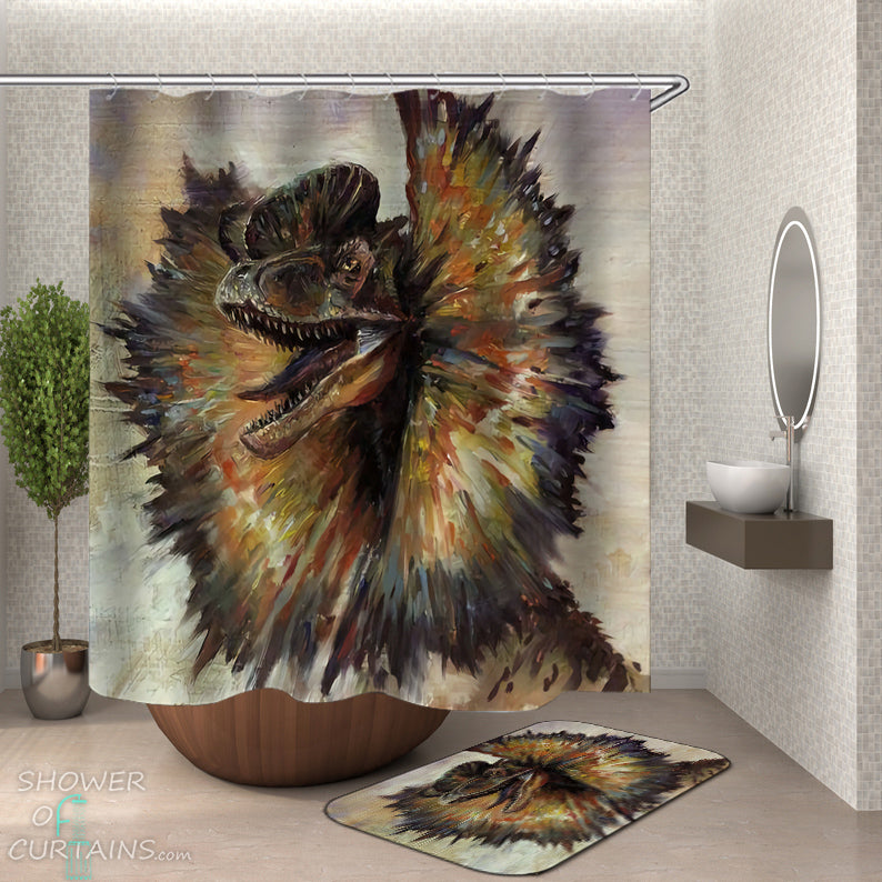 Dinosaur Shower Curtain - Art Painting Dilophosaurus