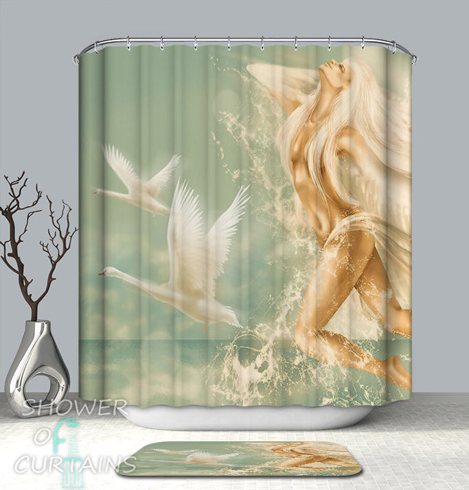 Divine Aqua Lady Shower Curtain