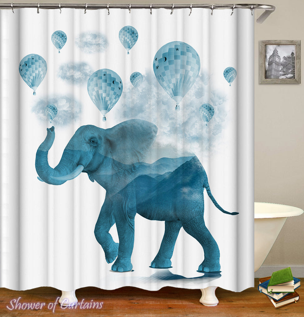 Elephant Bathroom Decor of Blue Hot-Air Balloons And Elephant Shower Curtain