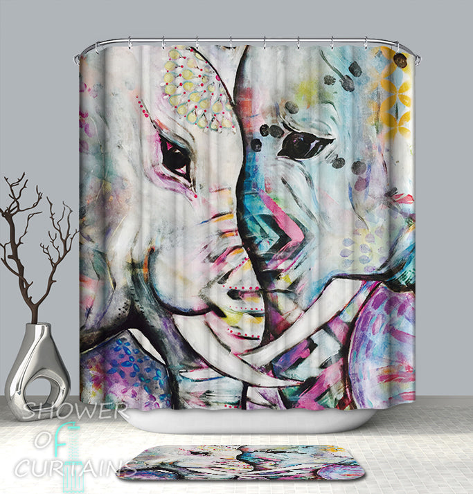 Elephant Shower Curtain of Elephants Art
