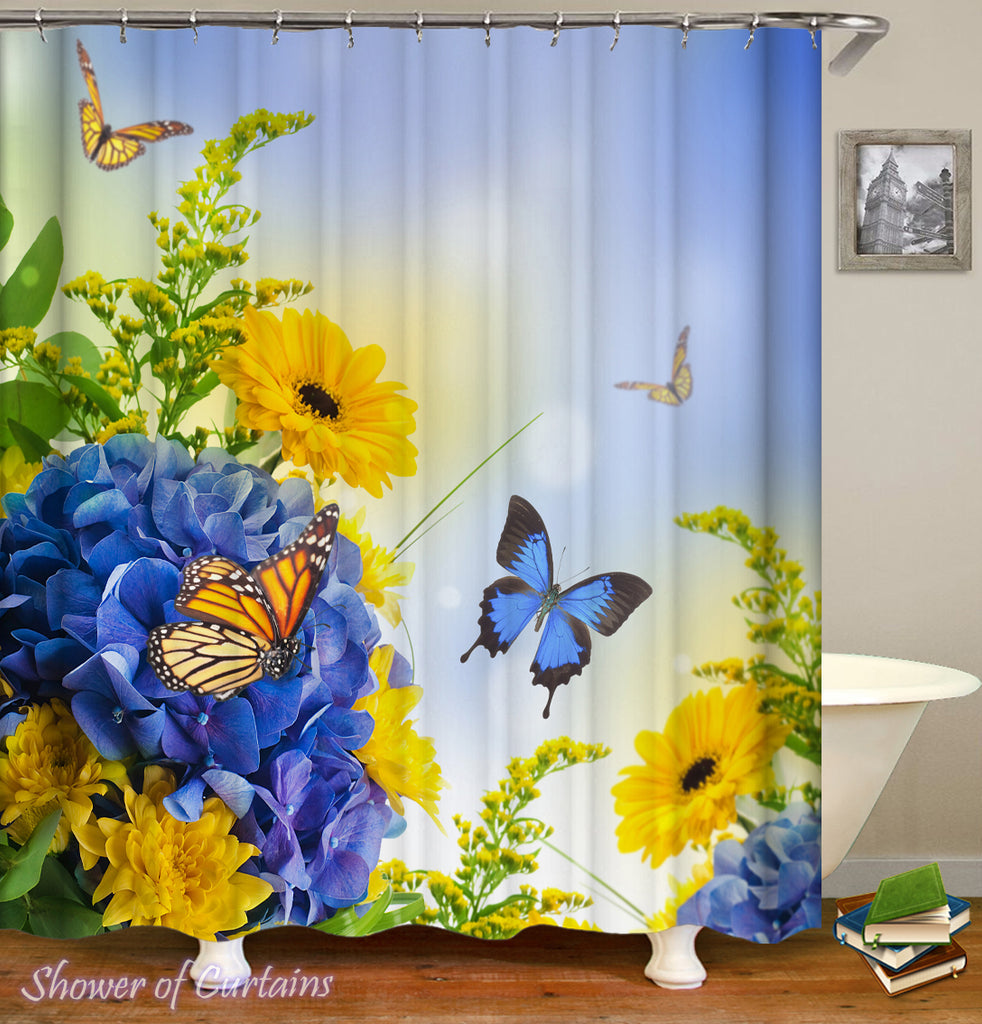 Floral Shower Curtain - Blue And Yellow Flowers ft. Butterflies