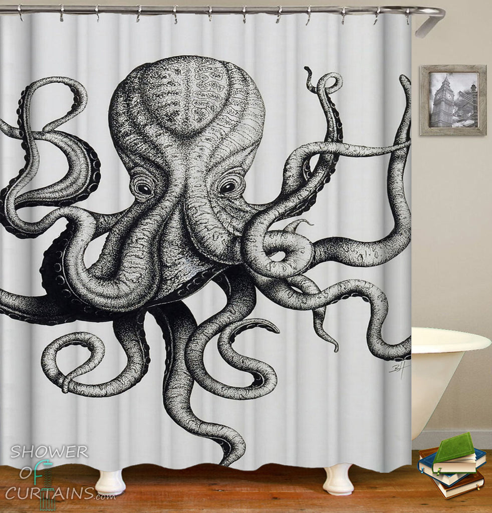 Frightening Octopus Shower Curtain - Octopus Drawing Bathroom Decor