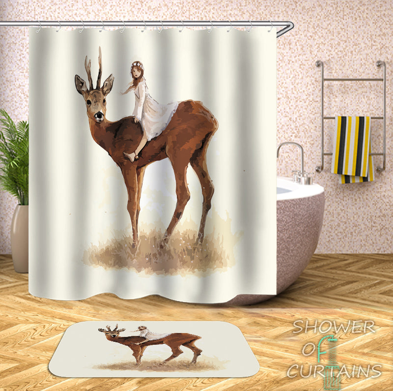 Girl Riding A Deer Shower Curtain