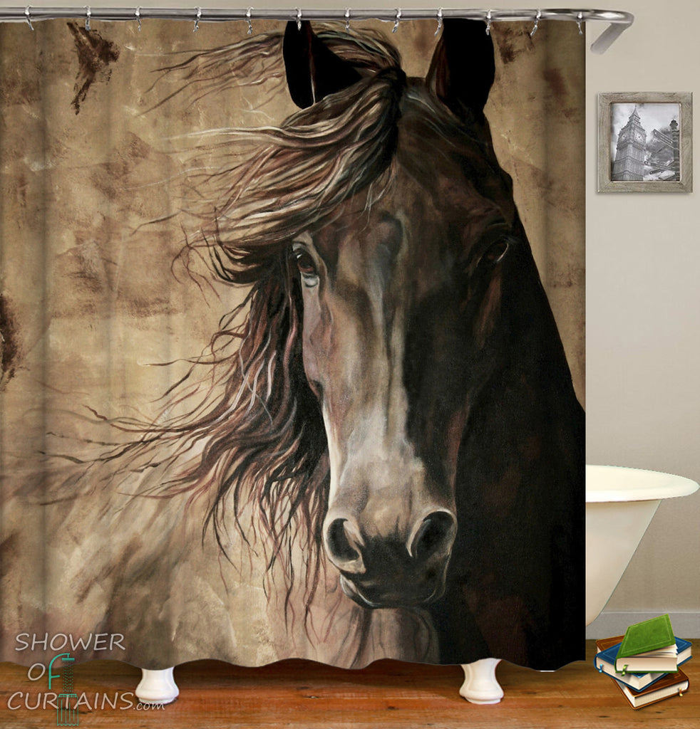 Horse Shower Curtain - Noble Black Horse