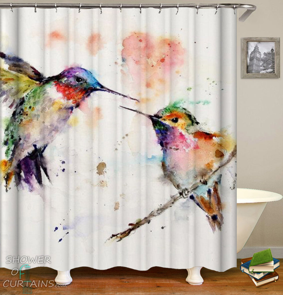 Hummingbird  Shower Curtain of Hummingbird Art Shower Curtain