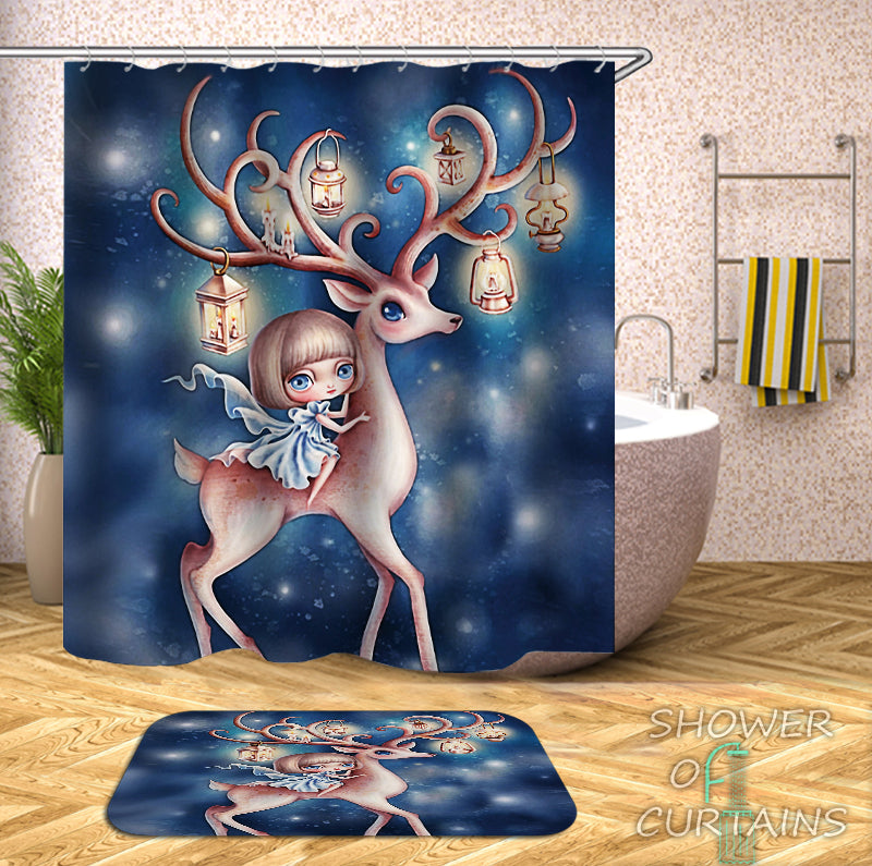 Kids' - Cartoon Girl Riding A Deer Shower Curtain