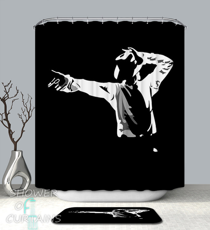 Michael Jackson Shower Curtain - Black And White