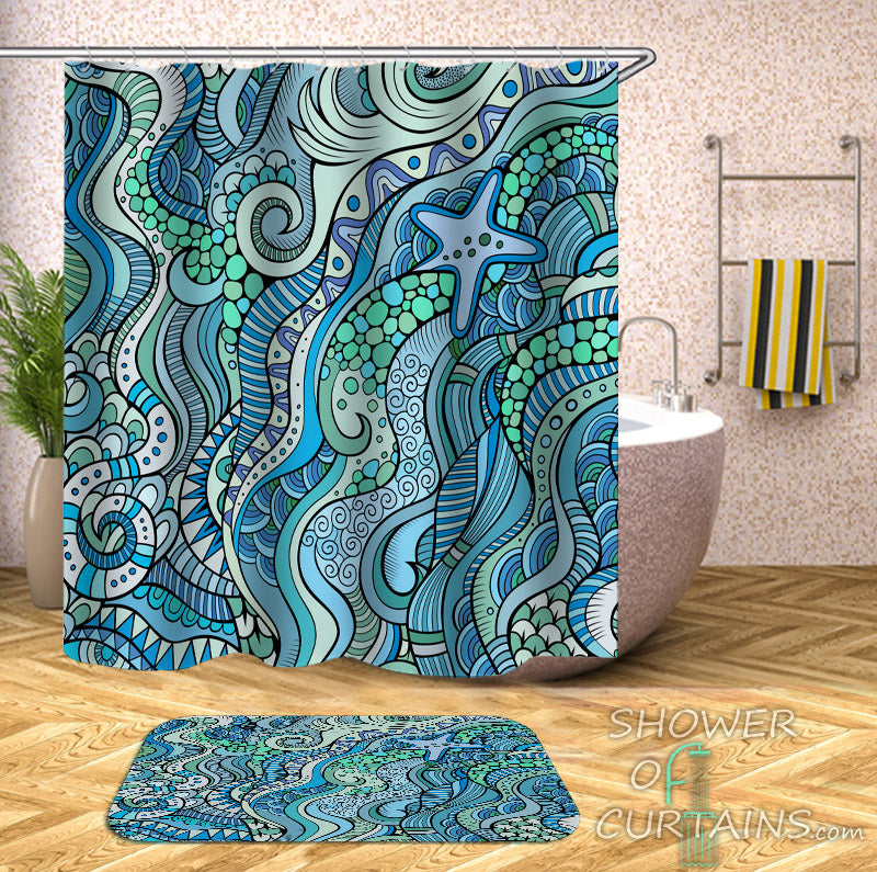 Ocean Shower Curtain of Beautiful Ocean Colors