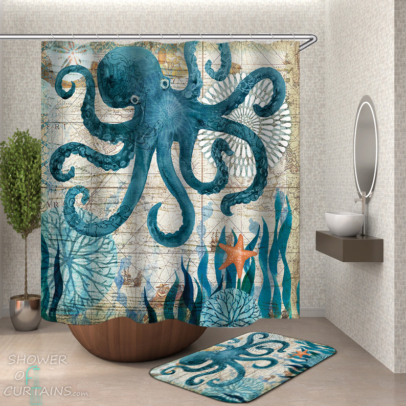 Octopus Shower Curtain - Vintage Map