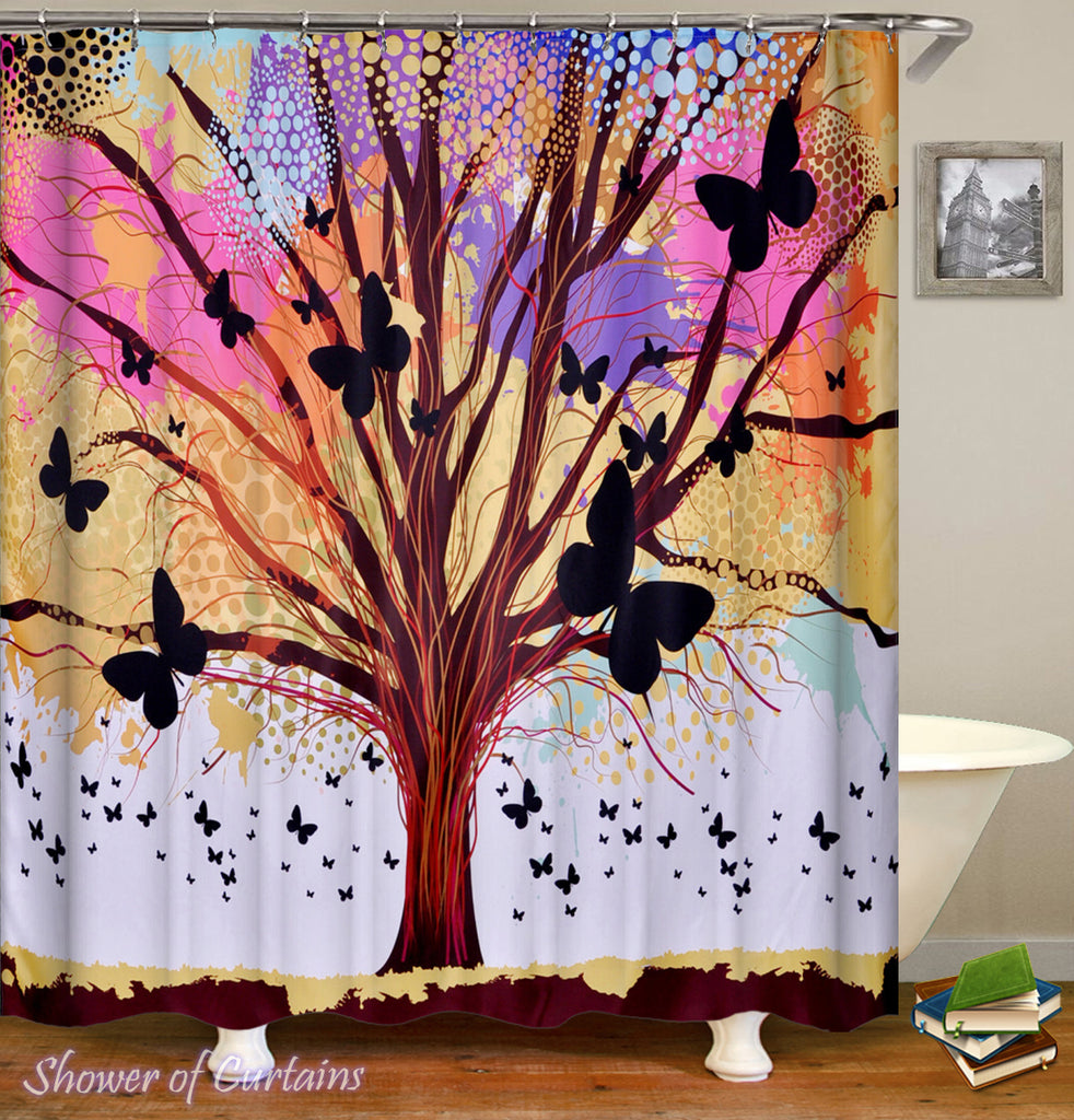 Pastel Colors Tree And Butterflies Shower Curtain
