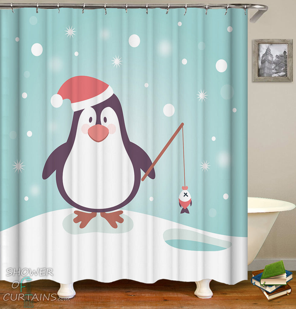 Penguin Shower Curtain for Christmas - Cute Penguin With Santa Hat
