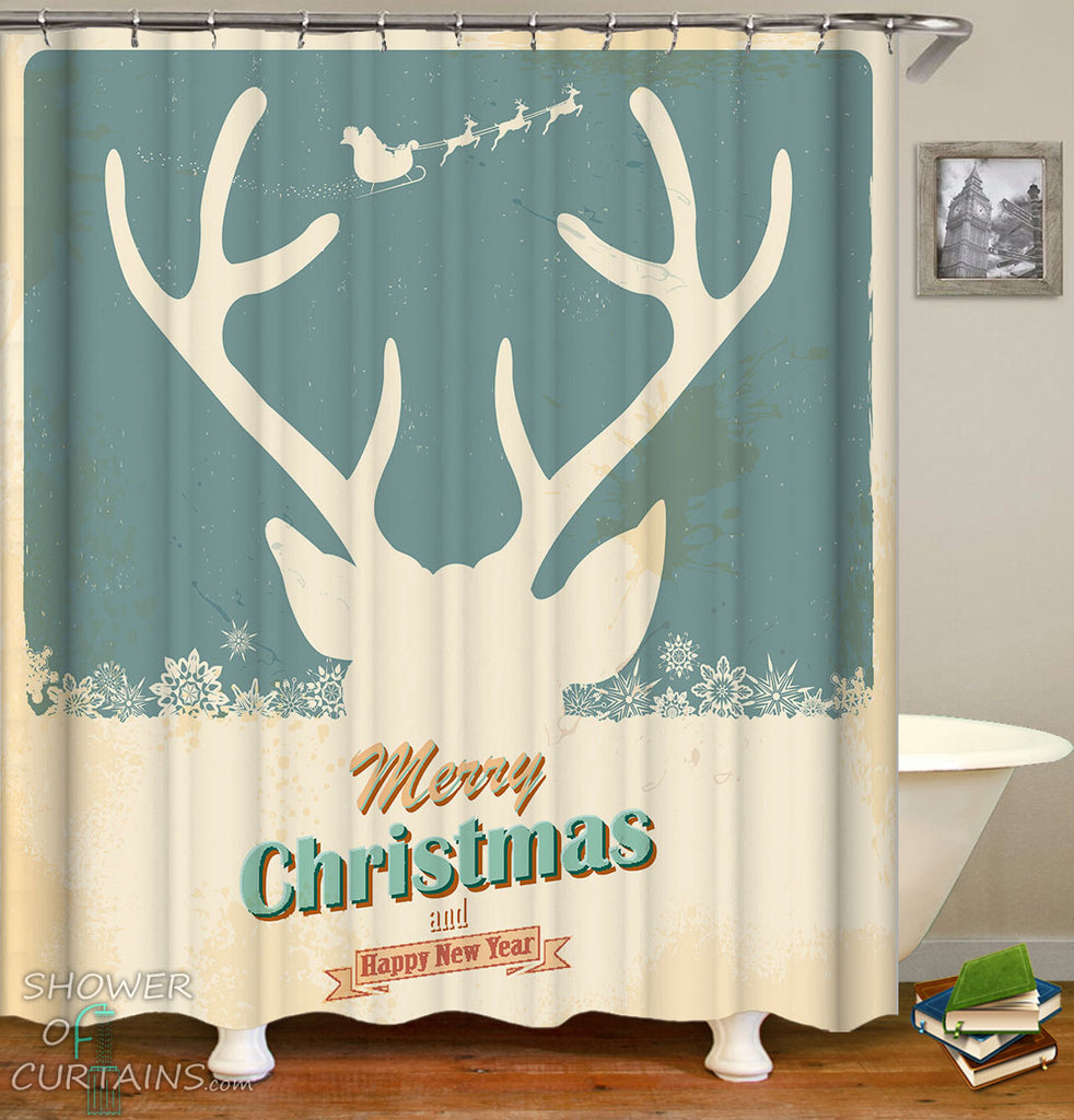 Reindeer Shower Curtain - Reindeer Christmas Vintage Tin Plate