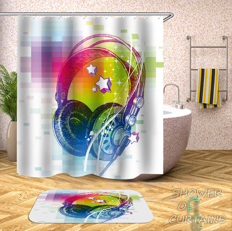 Retro Shower Curtain - Retro Vibes Headphones