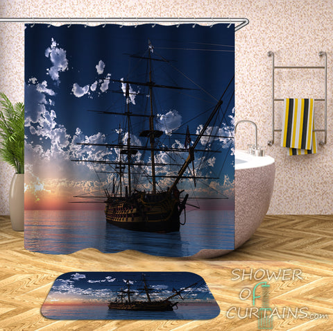 Ship Shower Curtain - Sailing Ship On The Open Sea
