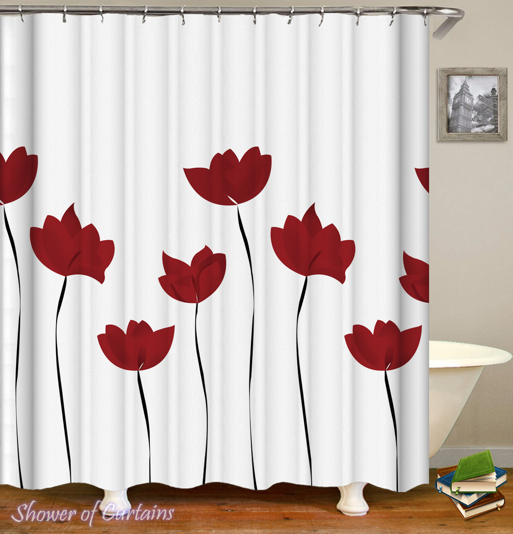 Shower Curtain of Red Tulip Drawing