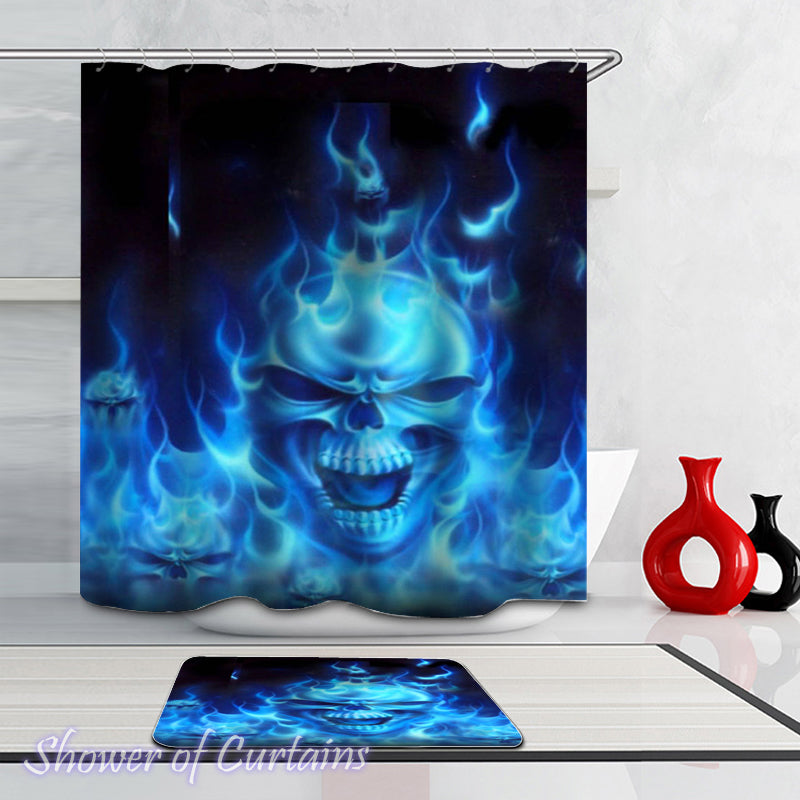 Skull Shower Curtain of Blue Flames Skull