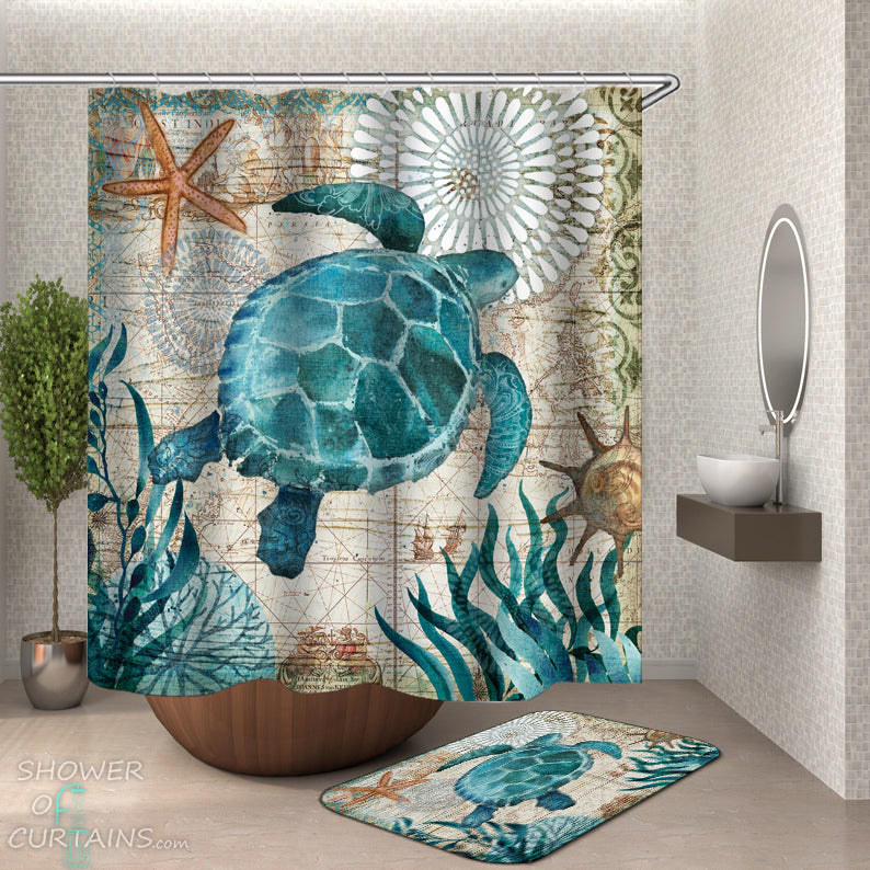 Turtle Shower Curtain of Vintage Map Turtle