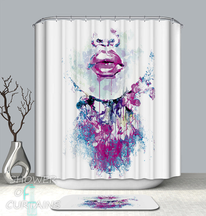 Unique Design - Purplish Sensual Lips Shower Curtain