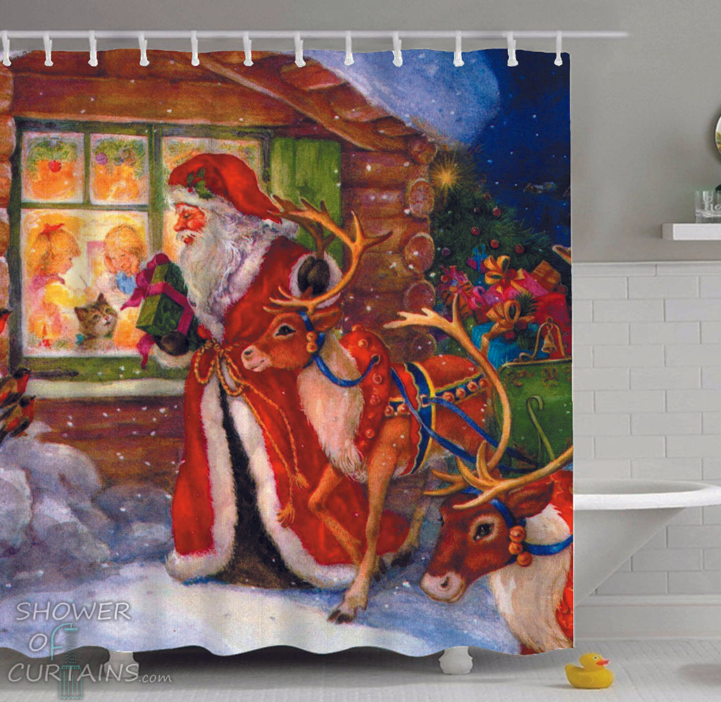 Vintage Christmas Shower Curtains of Christmas Vintage Painting