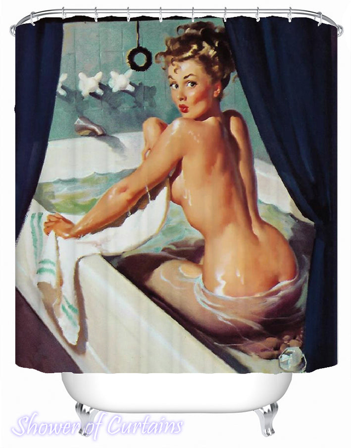 Vintage shower curtains painting - Bath Tub Lady