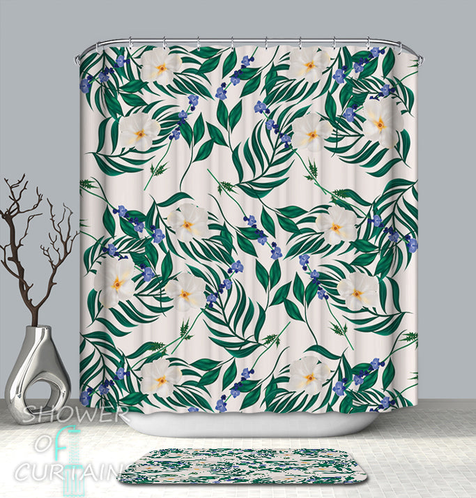 White And Blue Flowers  Shower Curtain