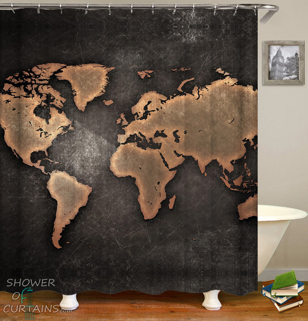 World Map Shower Curtain of Outlines World Map Blackboard