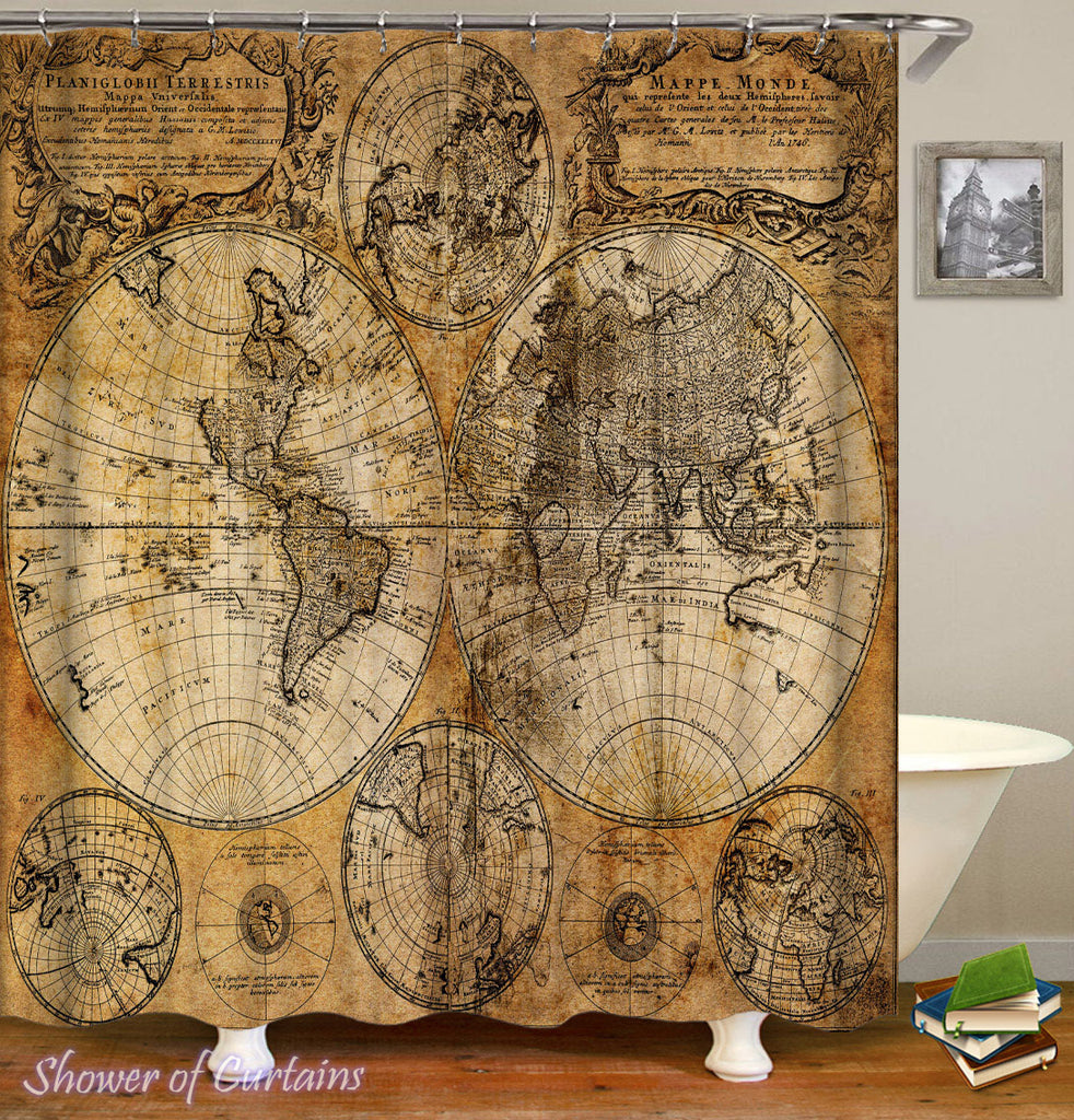 World Map Shower Curtains - Vintage Leather Globe Map