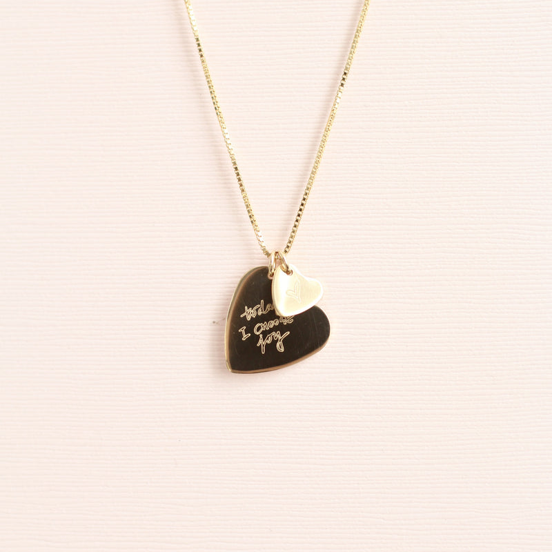 Custom Handwriting Double Heart Necklace