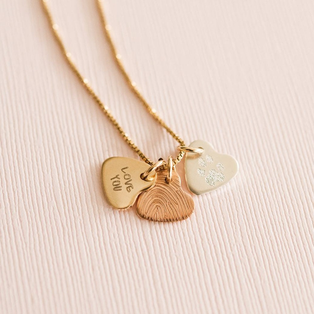 Tri-Color Custom Tiny Hearts Necklace
