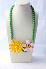 Handcrafted Bright Pastel Flower Collage Statement Necklace - bel monili, Pittsburgh PA, country living fair, vintage market days