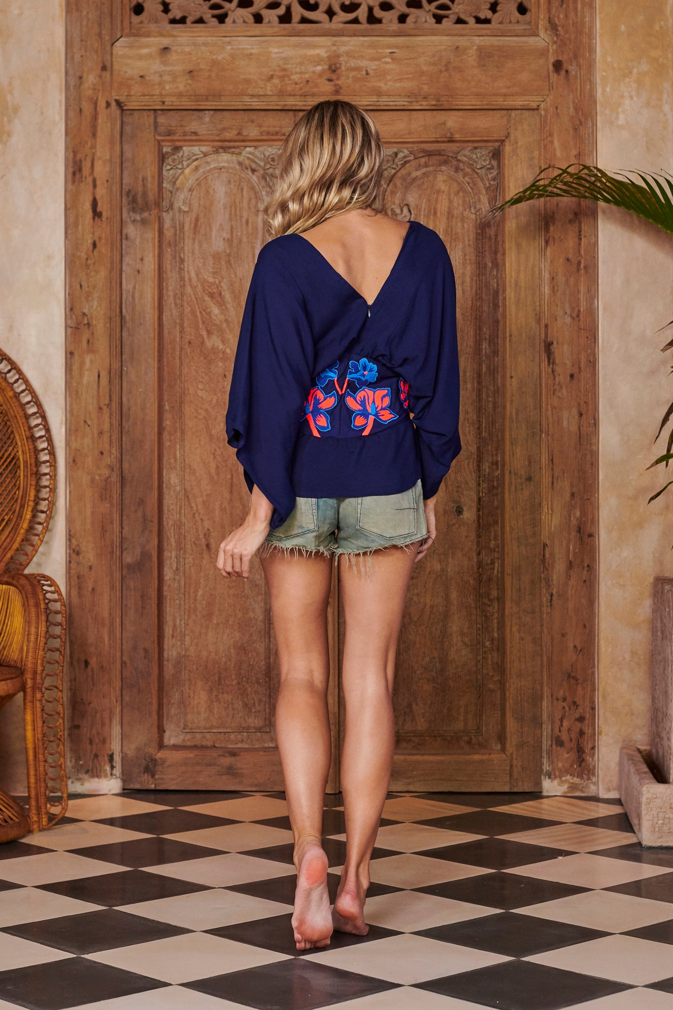 Goddess Top in Navy Embroidered Waistband