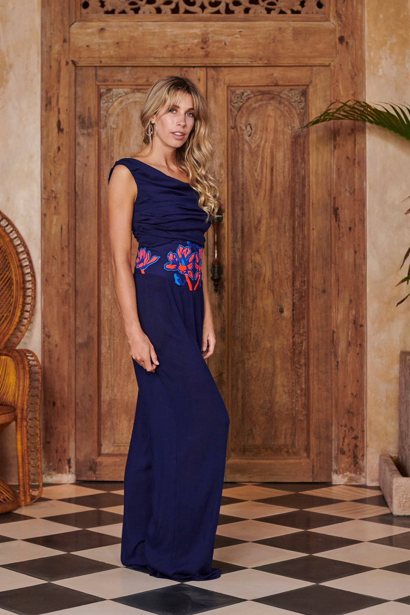 Nymph Navy Blue Embroidered Jumpsuit