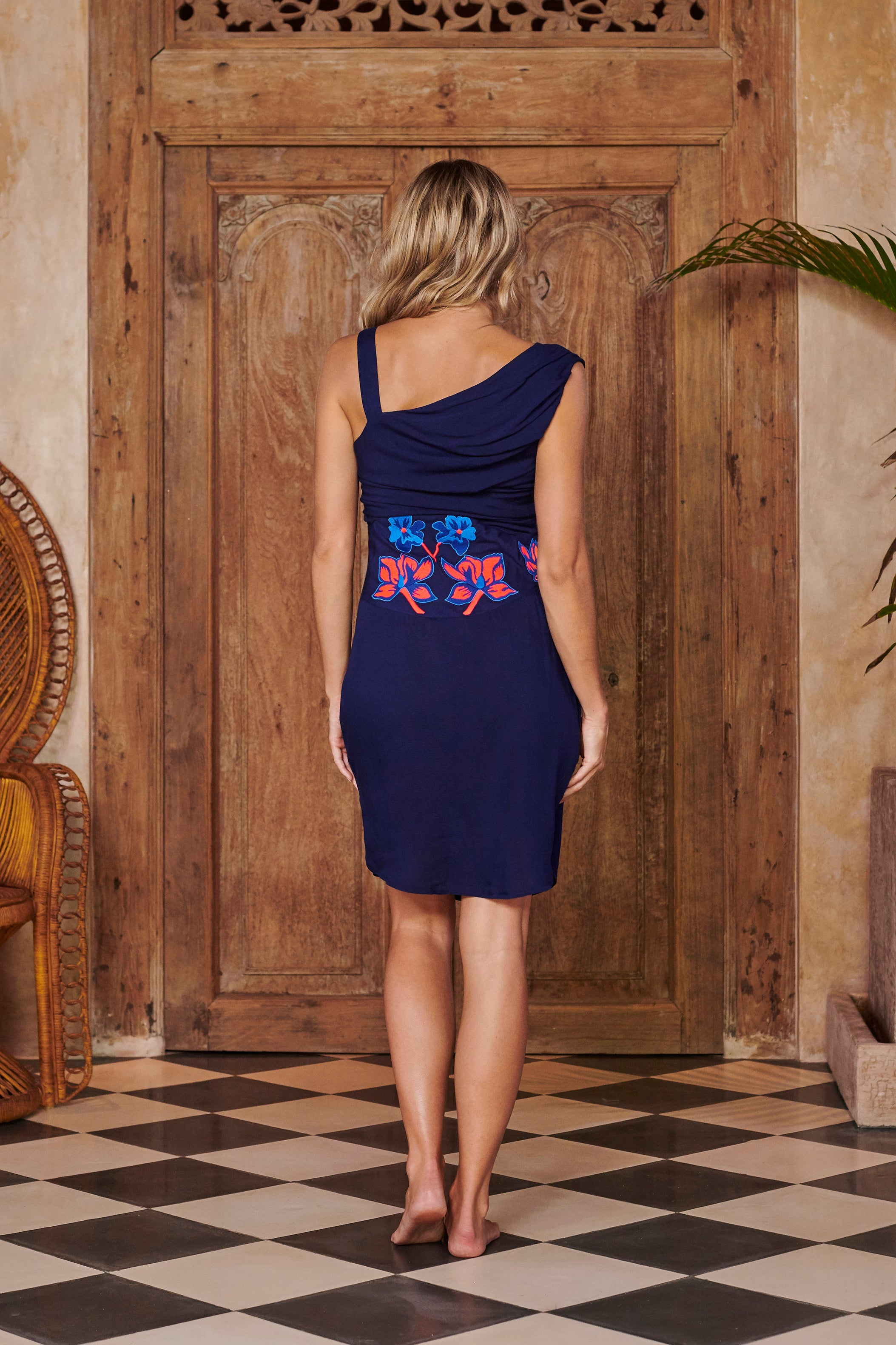 Nymph Navy Blue Embroidered Short Dress