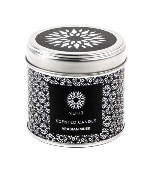 Arabian musk tin candle with black and white Nuhr logo label and silver lid with black and white logo sticker