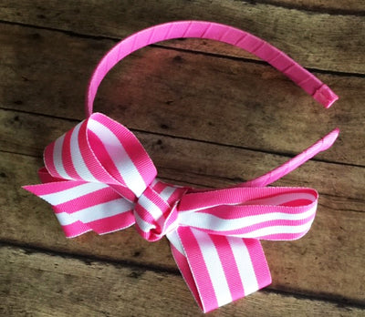 Headband w/Striped Ribbon Bow