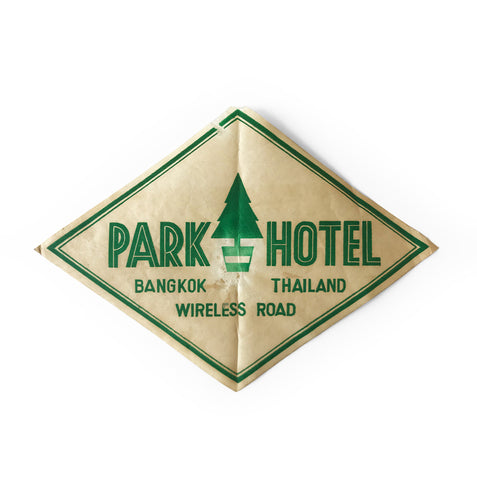 Vintage Thai, Park Hotel luggage label - SHOP NOW - www.intovintage.co.uk