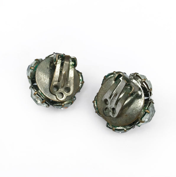 Large Vintage Faceted Round Clip On Rhinestones. Find this and other Vintage jewellery for sale at Intovintage.co.uk.