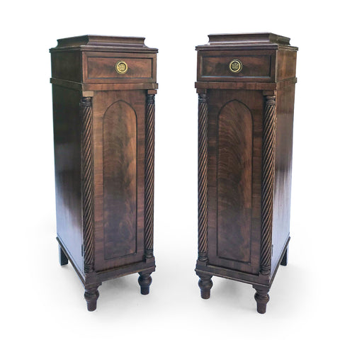 An excellent pair of Regency cabinets with lovely detailing. Curved shaped tops hold drawers with round brass handles with embossed Prince of Wales feather emblems - SHOP NOW - www.intovintage.co.uk