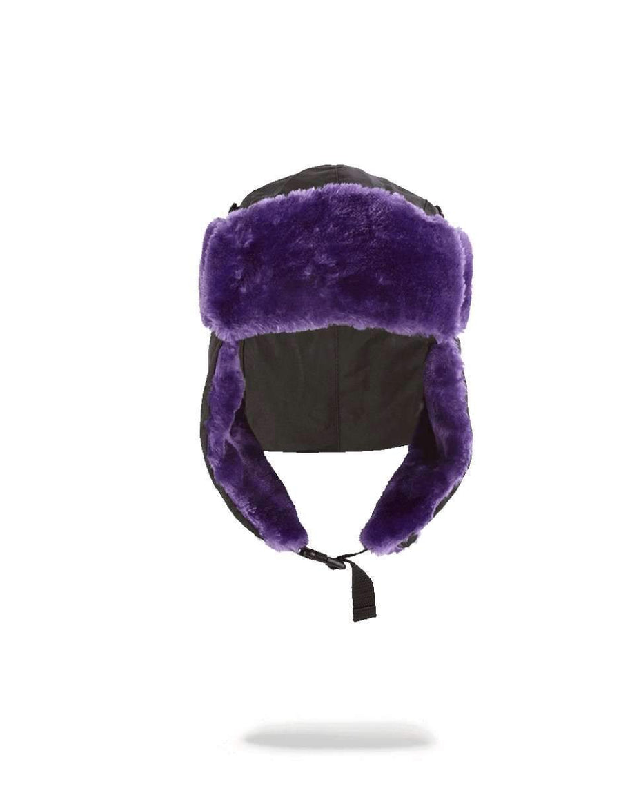 BLACK 3M PURPLE FUR AVIATOR HAT