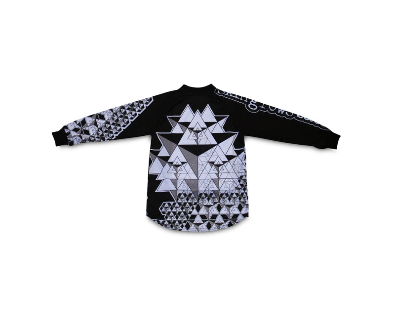 skingrowsback star tetrahedron jersey black and white youth back