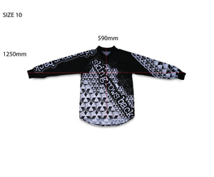 skingrowsback star tetrahedron jersey black and white youth size 10