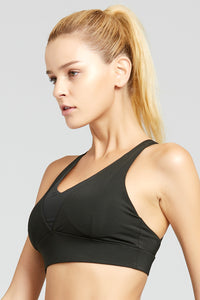 V Neck Mesh Combo Workout Bra with Adjustable Straps