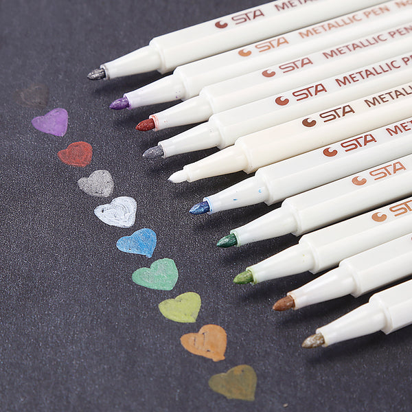10pcs 0.5mm Colorful Metallic Permanent Marker Pens KINIYO Stationery